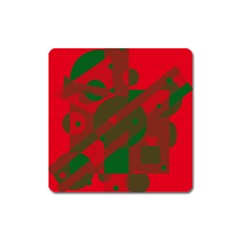 Red And Green Abstract Design Square Magnet by Valentinaart