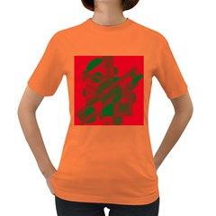 Red And Green Abstract Design Women s Dark T-shirt by Valentinaart