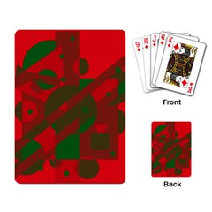 Red And Green Abstract Design Playing Card by Valentinaart