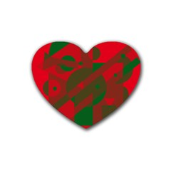 Red And Green Abstract Design Rubber Coaster (heart)  by Valentinaart