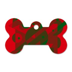 Red And Green Abstract Design Dog Tag Bone (two Sides) by Valentinaart