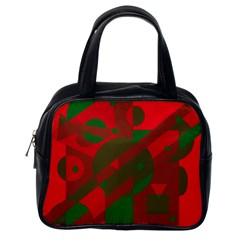Red And Green Abstract Design Classic Handbags (one Side) by Valentinaart