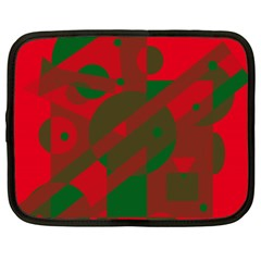 Red And Green Abstract Design Netbook Case (xxl)  by Valentinaart