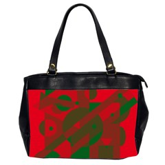 Red And Green Abstract Design Office Handbags (2 Sides)  by Valentinaart
