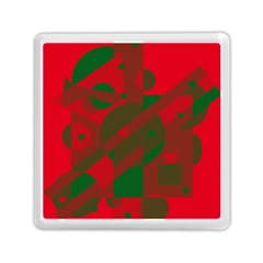 Red And Green Abstract Design Memory Card Reader (square)  by Valentinaart