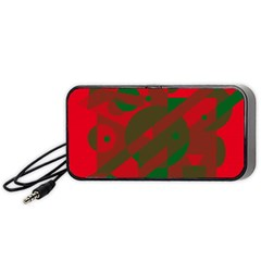 Red And Green Abstract Design Portable Speaker (black)  by Valentinaart