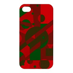 Red And Green Abstract Design Apple Iphone 4/4s Premium Hardshell Case by Valentinaart