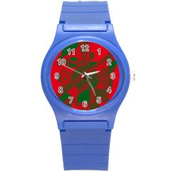 Red And Green Abstract Design Round Plastic Sport Watch (s) by Valentinaart