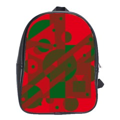 Red And Green Abstract Design School Bags (xl)  by Valentinaart