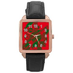 Red And Green Abstract Design Rose Gold Leather Watch  by Valentinaart