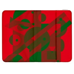 Red And Green Abstract Design Samsung Galaxy Tab 7  P1000 Flip Case by Valentinaart