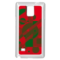 Red And Green Abstract Design Samsung Galaxy Note 4 Case (white) by Valentinaart