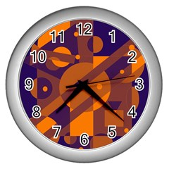 Blue And Orange Abstract Design Wall Clocks (silver)  by Valentinaart