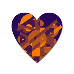 Blue And Orange Abstract Design Heart Magnet