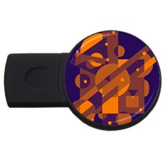 Blue And Orange Abstract Design Usb Flash Drive Round (2 Gb)  by Valentinaart