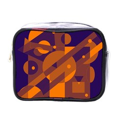 Blue And Orange Abstract Design Mini Toiletries Bags by Valentinaart