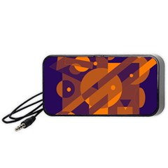 Blue And Orange Abstract Design Portable Speaker (black)  by Valentinaart