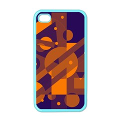 Blue And Orange Abstract Design Apple Iphone 4 Case (color) by Valentinaart
