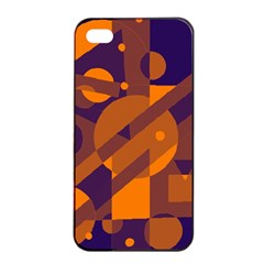 Blue And Orange Abstract Design Apple Iphone 4/4s Seamless Case (black) by Valentinaart