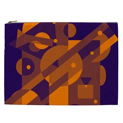 Blue And Orange Abstract Design Cosmetic Bag (xxl)  by Valentinaart