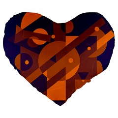 Blue And Orange Abstract Design Large 19  Premium Heart Shape Cushions by Valentinaart