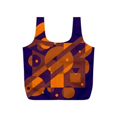 Blue And Orange Abstract Design Full Print Recycle Bags (s)  by Valentinaart