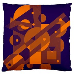 Blue And Orange Abstract Design Large Flano Cushion Case (one Side) by Valentinaart