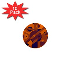 Orange And Blue Abstract Design 1  Mini Buttons (10 Pack)  by Valentinaart