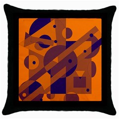 Orange And Blue Abstract Design Throw Pillow Case (black) by Valentinaart