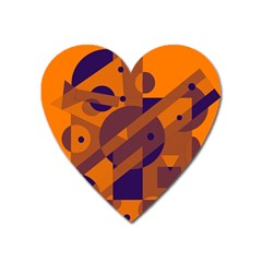 Orange And Blue Abstract Design Heart Magnet by Valentinaart