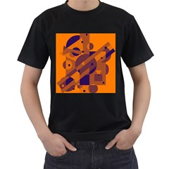 Orange And Blue Abstract Design Men s T-shirt (black) (two Sided) by Valentinaart