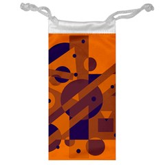 Orange And Blue Abstract Design Jewelry Bags by Valentinaart