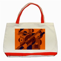 Orange And Blue Abstract Design Classic Tote Bag (red) by Valentinaart