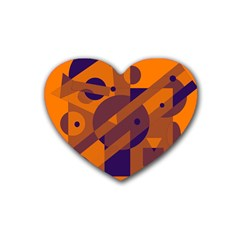 Orange And Blue Abstract Design Rubber Coaster (heart)