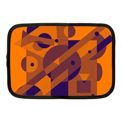 Orange And Blue Abstract Design Netbook Case (medium)  by Valentinaart