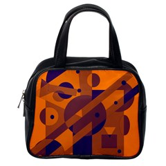Orange And Blue Abstract Design Classic Handbags (one Side)