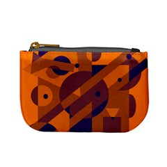 Orange And Blue Abstract Design Mini Coin Purses by Valentinaart