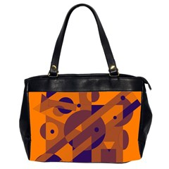 Orange And Blue Abstract Design Office Handbags (2 Sides)  by Valentinaart