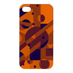 Orange And Blue Abstract Design Apple Iphone 4/4s Premium Hardshell Case by Valentinaart