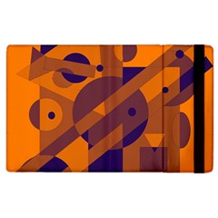 Orange And Blue Abstract Design Apple Ipad 2 Flip Case by Valentinaart