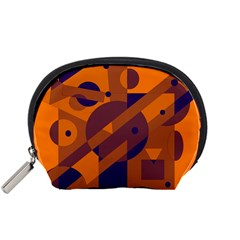 Orange And Blue Abstract Design Accessory Pouches (small)  by Valentinaart