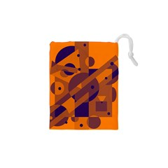 Orange And Blue Abstract Design Drawstring Pouches (xs)  by Valentinaart