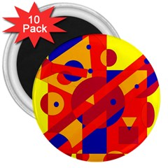 Colorful Abstraction 3  Magnets (10 Pack)