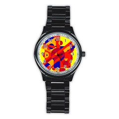 Colorful Abstraction Stainless Steel Round Watch by Valentinaart