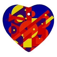 Blue And Orange Abstract Design Ornament (heart)  by Valentinaart