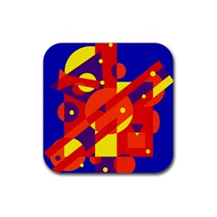 Blue And Orange Abstract Design Rubber Coaster (square)  by Valentinaart