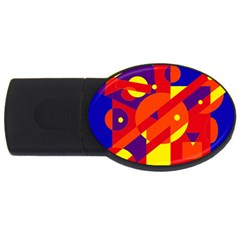 Blue And Orange Abstract Design Usb Flash Drive Oval (2 Gb)  by Valentinaart