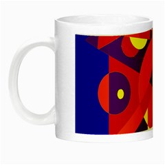 Blue And Orange Abstract Design Night Luminous Mugs by Valentinaart