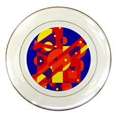 Blue And Orange Abstract Design Porcelain Plates by Valentinaart