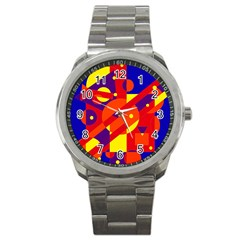 Blue And Orange Abstract Design Sport Metal Watch by Valentinaart